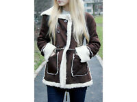 NEW Hooded Faux Shearling Coat - Coffee M