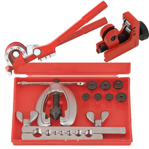 METRIC BRAKE PIPE FLARING KIT FUEL REPAIR TOOL SET WITH AND BENDER + TUBE CUTTER