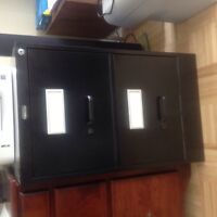 Black legal size filing cabinet with 2 drawers