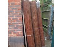 Rolls of willow screening 4m long, 1.8m and 2m high