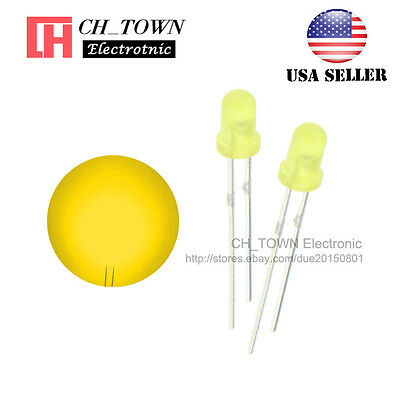 100pcs 3mm Diffused Self Yellow Light Blink Blinking Flash Led Diodes Lamp Usa