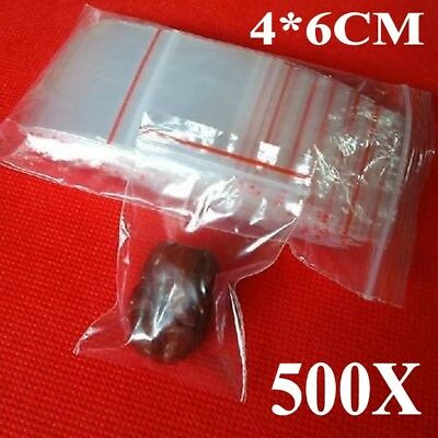 500x 4x6cm Small Ziplock Clear Poly Bag Reclosable Plastic Jewelry Baggies E1