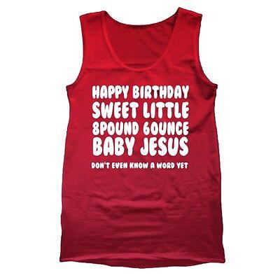 Jesus Talledega Nights Ricky Bobby Christmas Red Tank Top (Happy Birthday Baby Jesus)