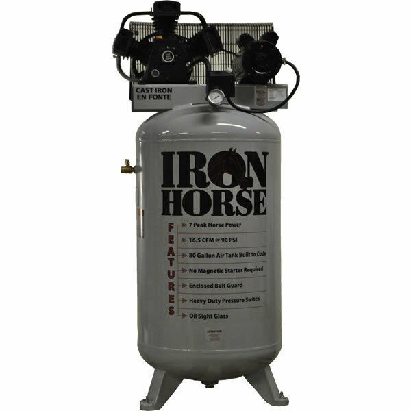 Iron Horse 7.5-hp 80-gallon Two-stage Air Compressor (208/230v 1-phase)