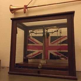 Vintage scales within lovely display cabinet (Glasgow made)