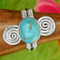COPPER TURQUOISE STONE HAND SET in Handmade 925 SILVER RING Sz 9