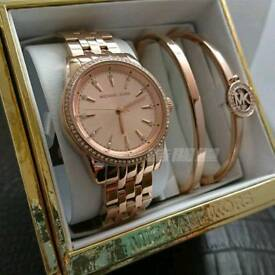 Michael Kors MK3744 Ritz Bracelet & Watch Gift Set In Rose Gold NEW £280 ONO!