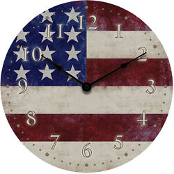 Geneva 12 American Flag Dial Wall Clock Battery Operated with Metal Hands