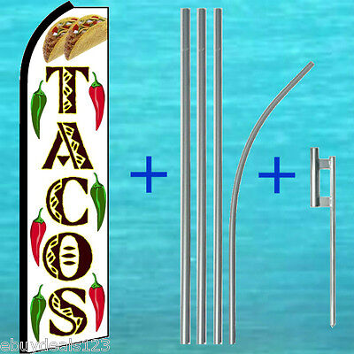 Tacos W Chiles Flutter Feather Flag Pole Mount Swooper Banner Vertical Sign
