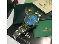 Full stainless brushed mil automatic sweeping mens watch rolex water proof serial boxed blue face