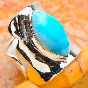 Stunning Larimar .925 Silver Open Ring, Size 8-9ish