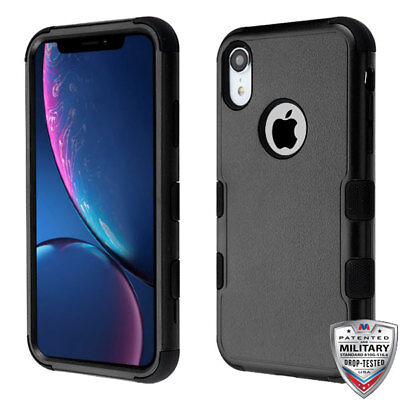 For Apple iPhone XR Hybrid Rugged Shockproof Protective Phone Case Cover BLACK