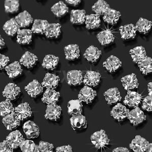 200Pcs Sew On Crystal Glass Diamante Rhinestones Silver Setting 4mm DIY Crafts