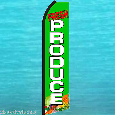 Fresh Produce Green Swooper Flag Tall Flutter Feather Advertising Sign Banner