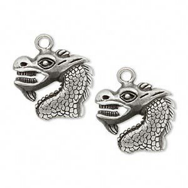 Dragon Charms Pendant Antiqued Silver 21mm Right Left Jewelry Lot of 4