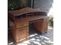 Large pine desk computer station or dressing table.