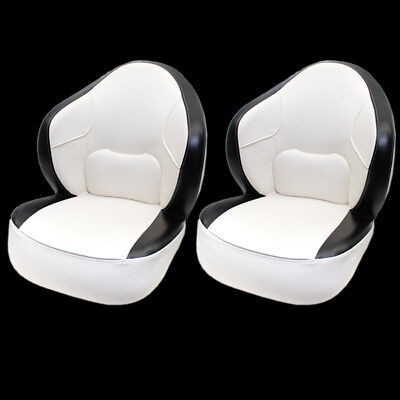 Deluxe Off White / Black Boat Captain / Bucket / Fishing Seat Chairs (Pair)