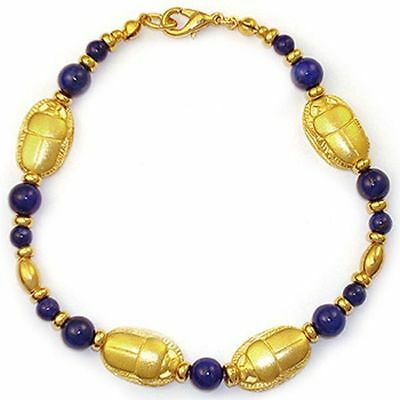 Reproduction Jewelry - Scarab and Lapis Bracelet - Museum Jewelry Reproduction