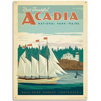 Acadia National Park Maine Harbor Sign US Travel Vintage Style 12 x 16