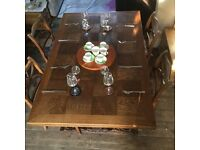 Beautiful solid wood table with six chairs