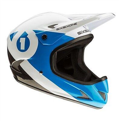 661 SixSixOne Rage Carbon Full Face MTB Helmet Cyan Medium M New - Retail $200 661 Full Face Helmet