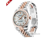 swiss men day date two tone rose gold