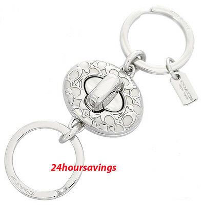 New COACH SIGNATURE C Silver Turn Lock Valet Key Chain Ring FOB 65501