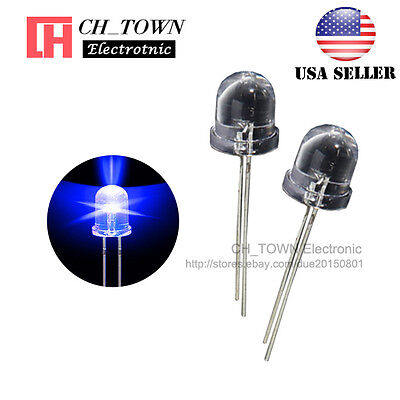 50pcs 10mm LED Water Clear Blue Light Emitting Diodes Round Top Ultra Bright USA, used for sale  Shipping to Nigeria