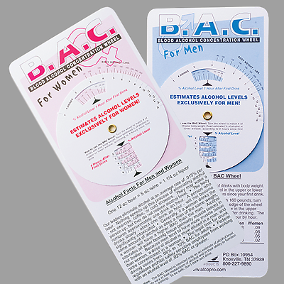 Blood Alcohol Concentration (BAC) Wheel for Men and Women - 25 Pieces ($.72 ea.)