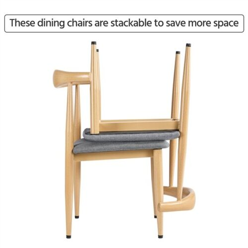 2pcs Dining Chairs with Backrest Modern Kitchen Chairs Metal Legs, Wood Color 6
