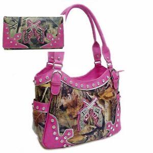 -Women-Purse-Handbag-Wallet-Camo-Camouflage-Gun-Pistol-Hot-Pink-LargeHot Pink Camo Shotgun