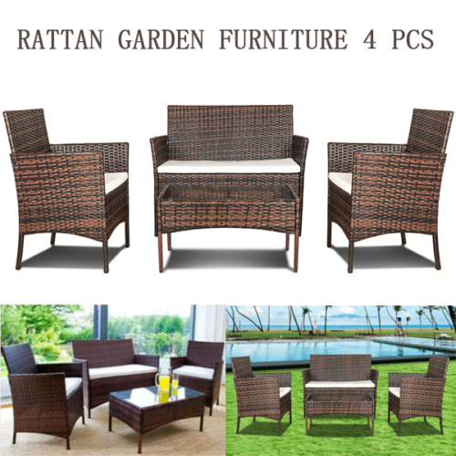 Garden Furniture - Rattan Outdoor Garden Furniture Set 4 Piece Chairs Sofa Table Patio Set Brown