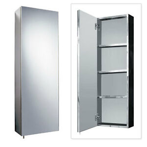 Stainless steel 900mm x 300mm tall wall mounted bathroom mirror storage cabinet ebay for Tall stainless steel bathroom cabinet