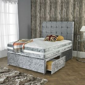 Best Quality Crush velvet Divan beds Sets available now in stock