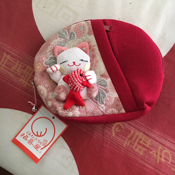 Brand New Japan Red and Pink Cat with Fish Pouch
