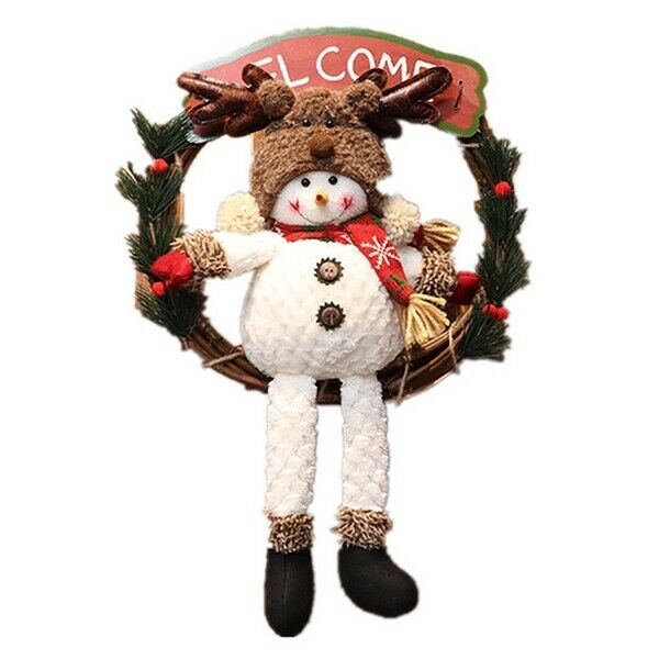 1+Pcs+Rattan+Christmas+Wreath+Garland+with+Snowman+Doll+and+Wooden+Welcome+Y7Q9