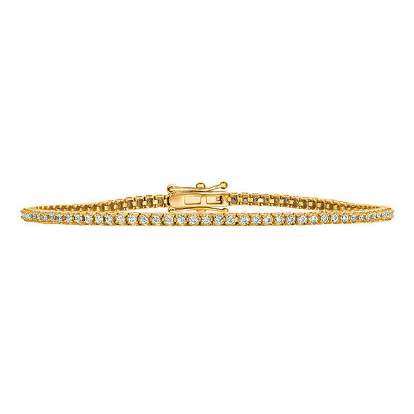 1.00 Carat Natural Diamond Tennis Bracelet G SI 14K Yellow Gold 7'' 92 stones