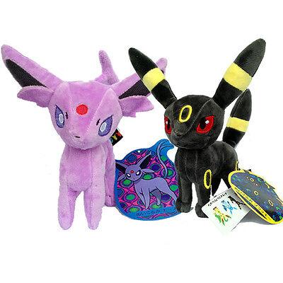 "2X Nintendo Pokemon Umbreon Espeon Plush Toy Stuffed Animal Blacky Eifie Doll 7"", used for sale  Shipping to Canada"