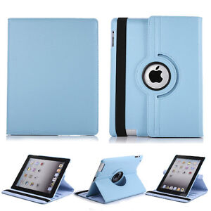 SKY BLUE 360 ROTATING PU LEATHER CASE COVER FOR IPAD 2 3 4