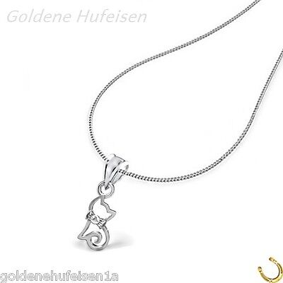 Kristall Katze KETTE mit ANHÄNGER 925 Echt Silber Kinder Geschenkidee *153*