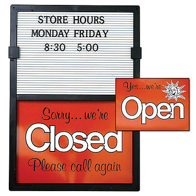 Open/Closed Sign with Message Board in Black Frame Red And White -