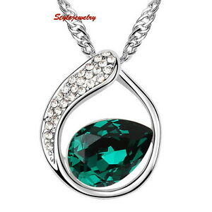 Antique-Silver-Birthstone-Emerald-Green-Swarovski-Crystal-Teardrop-Necklace-N235