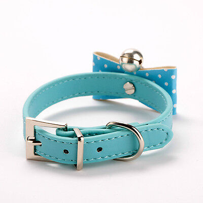 Pet Collar With Bell Cat PU Leather Buckle Small/Medium Dogs Collar Blue M