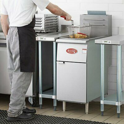 40 Lb Natural Gas Commercial Restaurant Stainless Steel Floor Deep Fryer 3 Tube