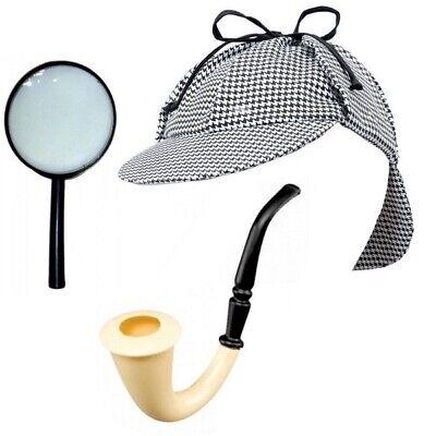 Sherlock Holmes Kostüm Detektiv Set 3 tlg.  Deerstalker (Mütze) Lupe - Sherlock Holmes Kostüm