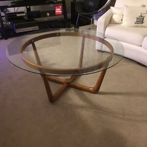 Mid Century Unique Based Glass Teak Coffee Table