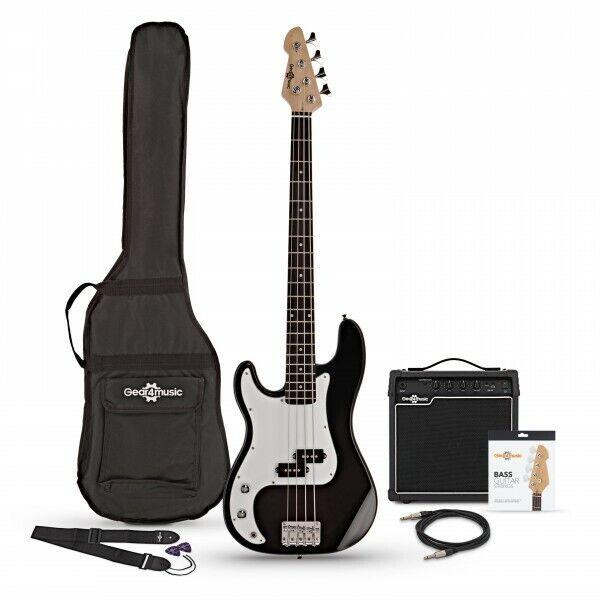 LA Left Handed Bass Guitar + 15W Amp Pack Black