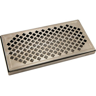 12 Surface Mount Drip Tray- Stainless Steel- No Drain- Draft Beer Spill Catcher