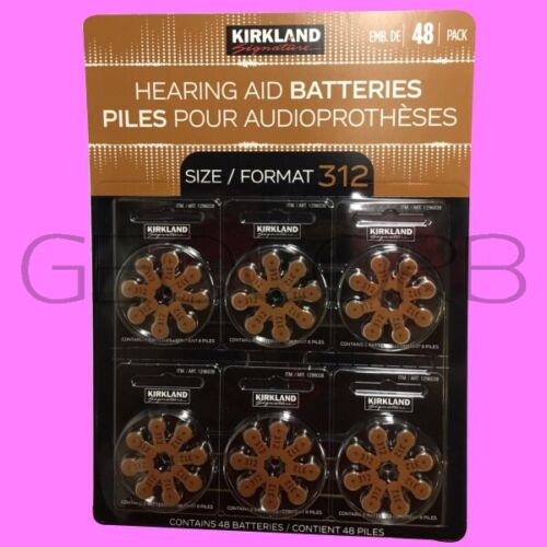 KIRKLAND SIGNATURE HEARING AID BATTERIES 48 COUNT SIZE 312 - USA SELLER