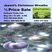 1/2 Price Sale - Clearing out Christmas Wreaths May 23rd